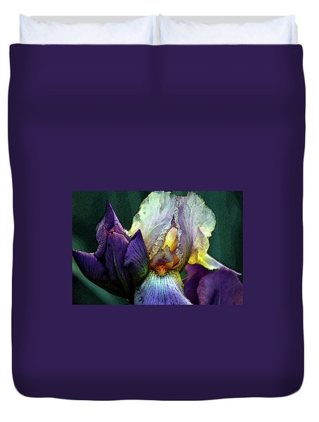 Watercolor Cream And Purple Bearded Iris With Bud 0065 W_2 Duvet Cover