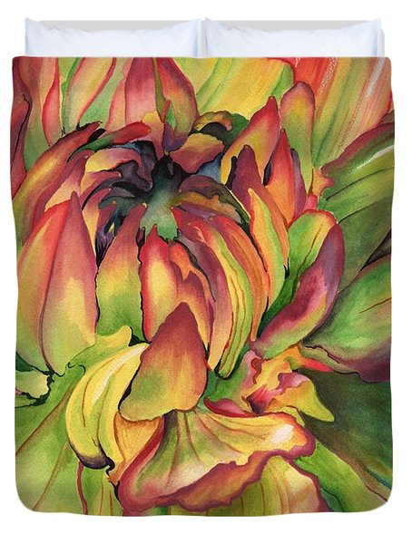 Duvet Cover featuring the painting Watercolor Dahlia by Angela Armano