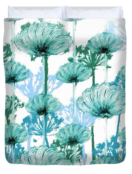 Duvet Cover featuring the digital art Watercolor Dandelions by Bonnie Bruno