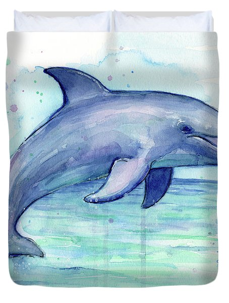 Watercolor Dolphin Painting - Facing Right Duvet Cover