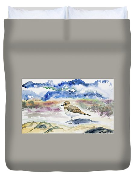 Watercolor - Double-banded Plover On The Beach Duvet Cover