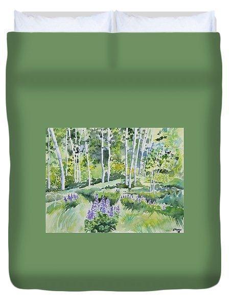 Watercolor - Early Summer Aspen And Lupine Duvet Cover
