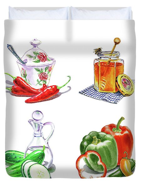 Duvet Cover featuring the painting Watercolor Editorial Food Illustrations The Sweet The Hot The Sour by Irina Sztukowski