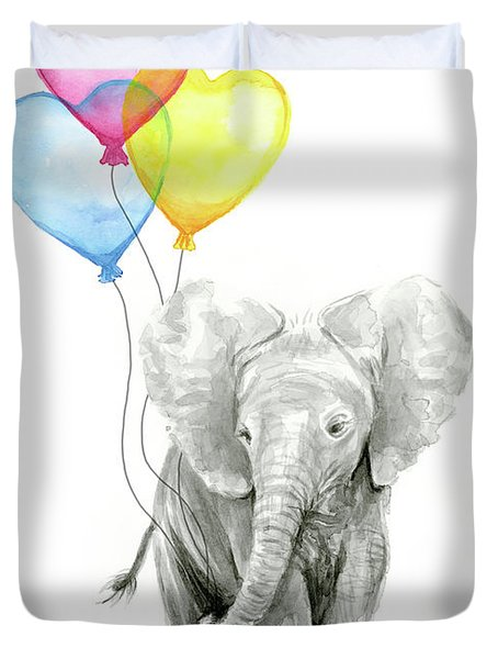 Watercolor Elephant With Heart Shaped Balloons Duvet Cover