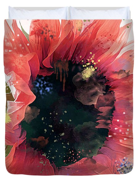 Watercolor Fantasy Sunflower Duvet Cover by Renee Trenholm
