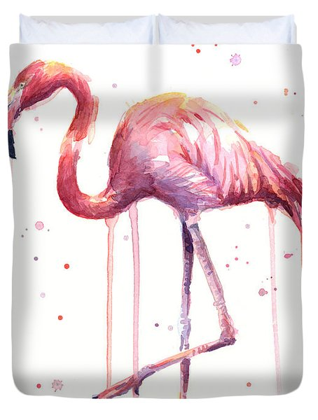 Watercolor Flamingo Duvet Cover