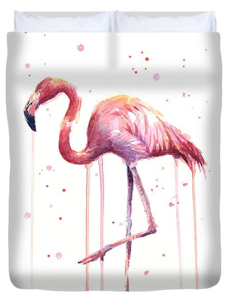 Watercolor Flamingo Duvet Cover by Olga Shvartsur