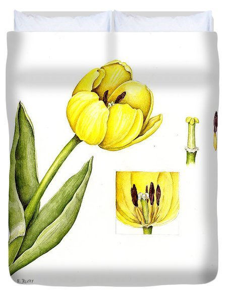 Watercolor Flower Yellow Tulip Duvet Cover