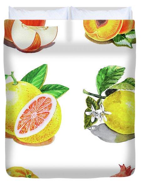 Watercolor Food Illustration Fruits Duvet Cover
