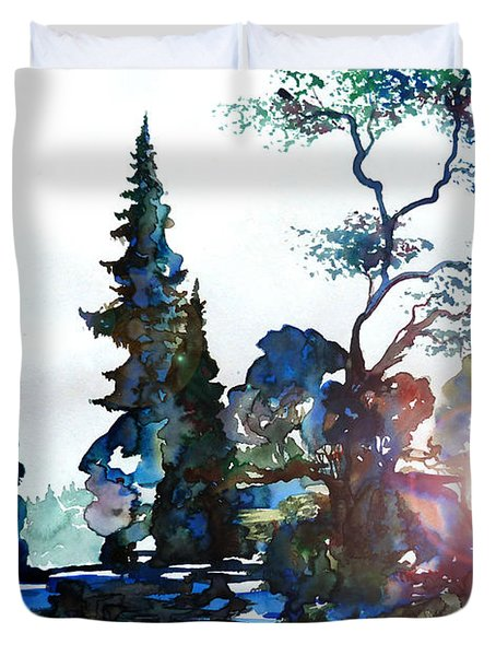 Watercolor Forest And Pond Duvet Cover