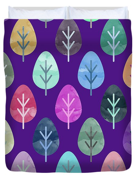 Watercolor Forest Pattern II Duvet Cover