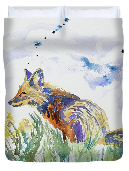 Watercolor - Fox On The Lookout Duvet Cover
