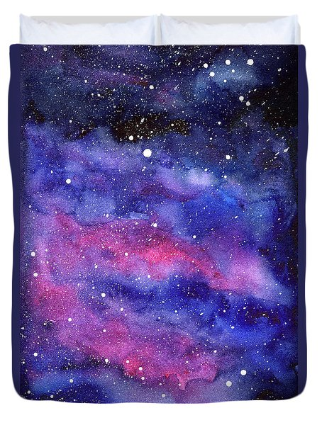 Watercolor Galaxy Pink Nebula Duvet Cover