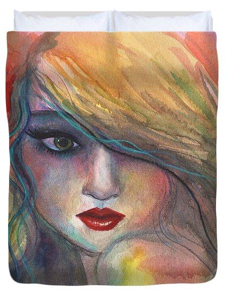Watercolor Girl Portrait With Flower Duvet Cover