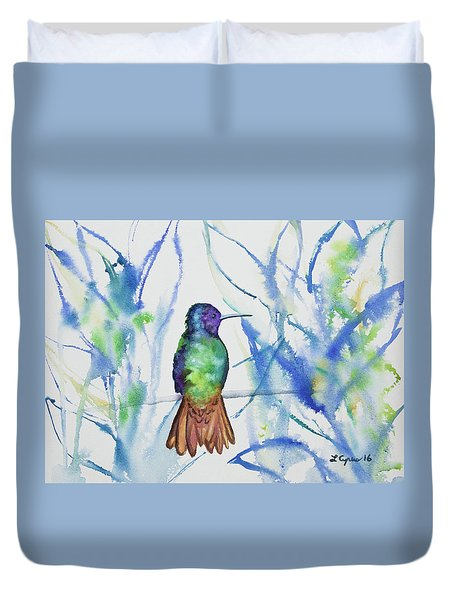 Watercolor - Golden-tailed Sapphire Duvet Cover