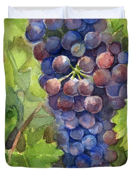 Watercolor Grapes Painting Duvet Cover by Olga Shvartsur