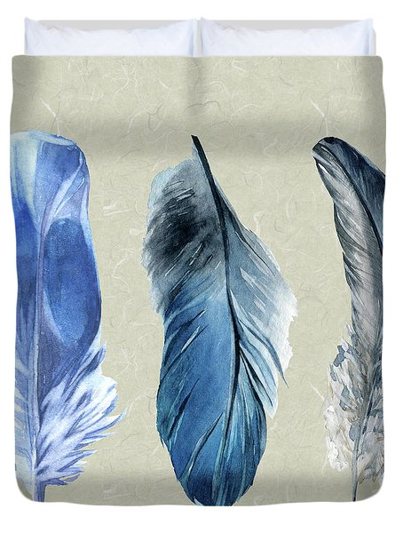 Watercolor Hand Painted Feathers Duvet Cover by Heinz G Mielke