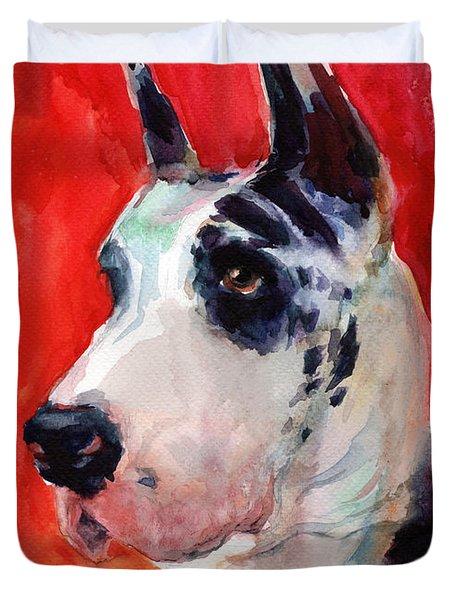 Watercolor Harlequin Great Dane Dog Portrait 2  Duvet Cover by Svetlana Novikova