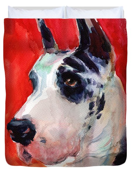 Watercolor Harlequin Great Dane Dog Portrait 2  Duvet Cover