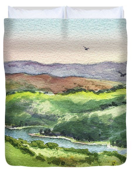Duvet Cover featuring the painting Watercolor Hills Of California by Irina Sztukowski