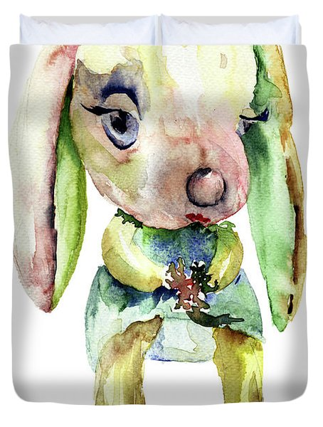 Watercolor Illustration Of Rabbit Duvet Cover