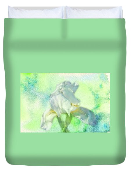 Duvet Cover featuring the photograph Watercolor Iris by Joan Bertucci