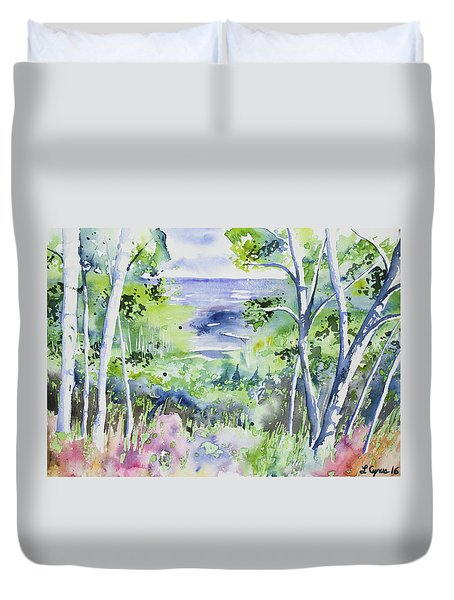 Watercolor - Lake Superior Impression Duvet Cover
