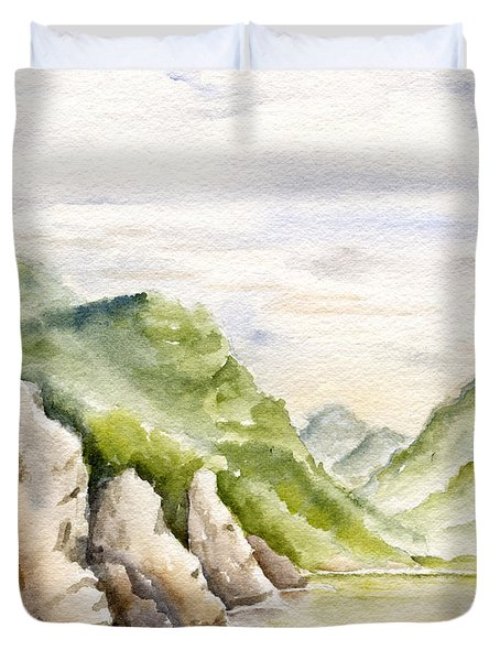 Watercolor Landscape Plein Air Duvet Cover