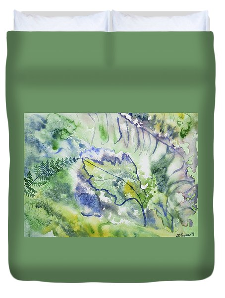 Watercolor - Leaves And Textures Of Nature Duvet Cover