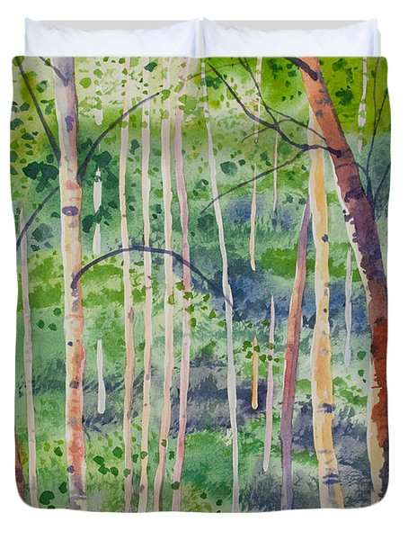 Watercolor - Magical Aspen Forest After A Spring Rain Duvet Cover