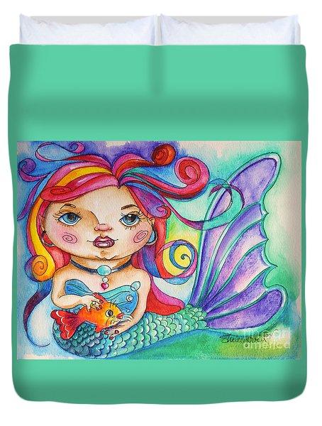 Watercolor Mermaidia Mermaid Painting Duvet Cover by Shelley Overton