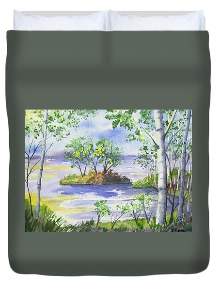 Watercolor - Minnesota North Shore Landscape Duvet Cover