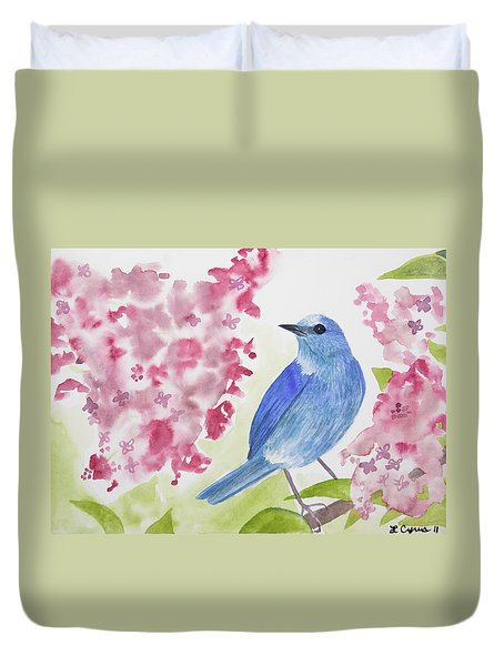 Watercolor - Mountain Bluebird Duvet Cover