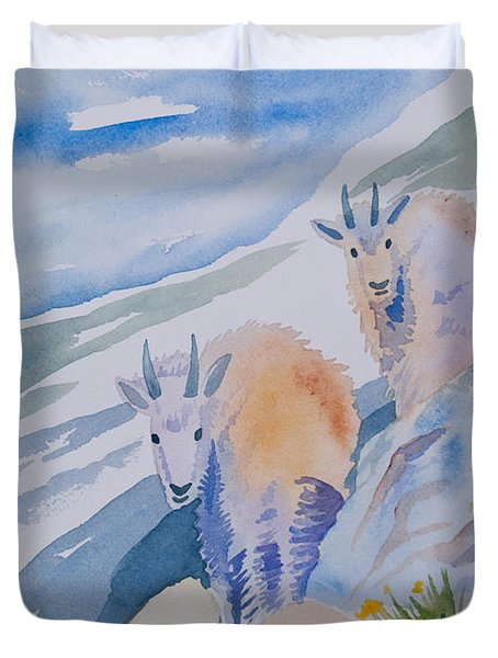 Watercolor - Mountain Goats On Quandary Duvet Cover
