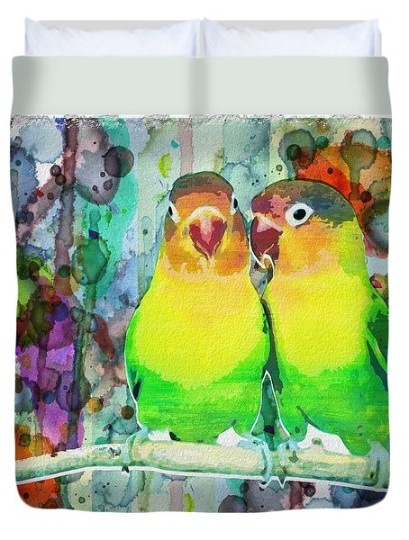 Watercolor Neon Parrots Bird Painting Watercolor Abstract Duvet Cover
