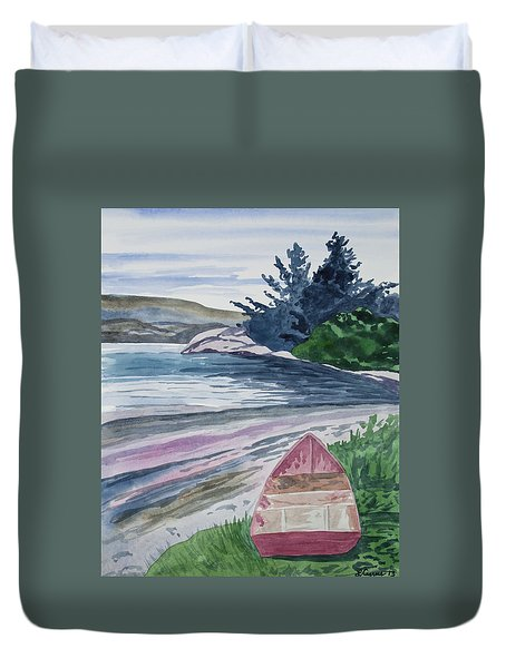 Watercolor - New Zealand Harbor Duvet Cover