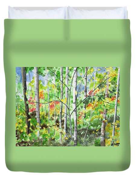Duvet Cover featuring the painting Watercolor - Northern Forest by Cascade Colors