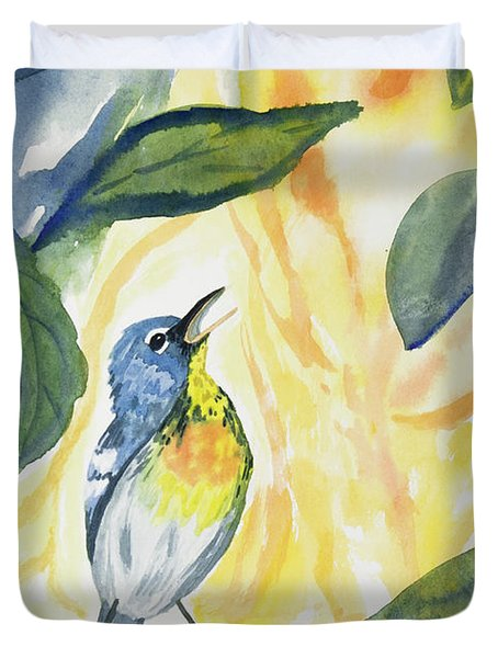 Watercolor - Northern Parula In Song Duvet Cover