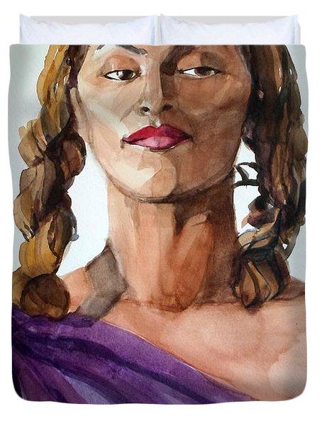 Portrait In Watercolor Of A Brooklyn Queen Duvet Cover