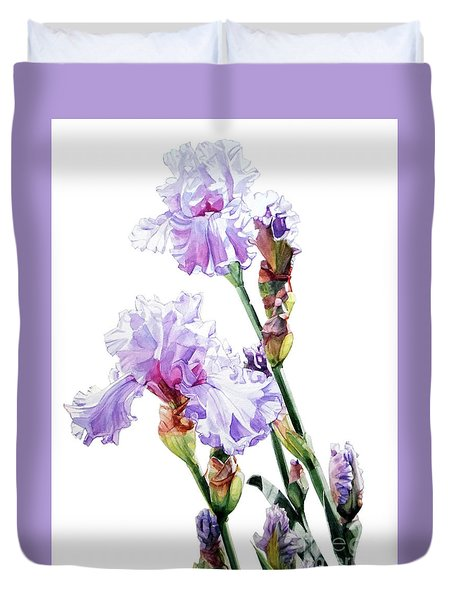 Watercolor Of A Tall Bearded Iris I Call Lilac Iris Wendi Duvet Cover
