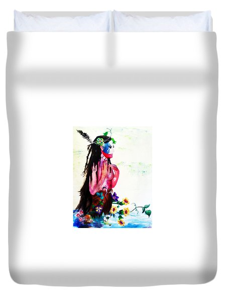 Watercolor Of Chippewa In The Water By Ayasha Loya Duvet Cover by Ayasha Loya