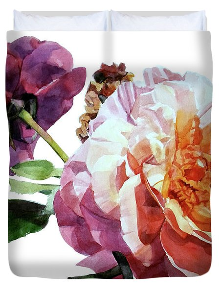 Watercolor Of Two Roses In Pink And Violet On One Stem That  I Dedicate To Jacques Brel Duvet Cover