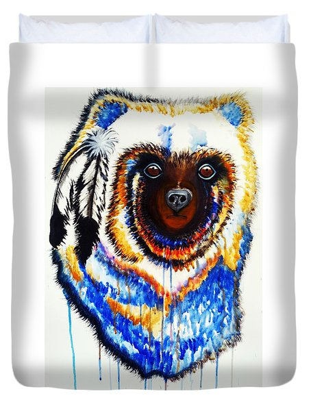 Watercolor Painting Of Spirit Of The Bear By Ayasha Loya Duvet Cover by Ayasha Loya