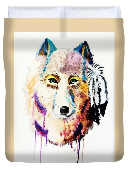 Watercolor Painting Of Spirit Of The Wolf By Ayasha Loya Duvet Cover by Ayasha Loya