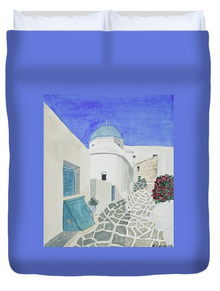 Watercolor - Paros Church And Street Scene Duvet Cover