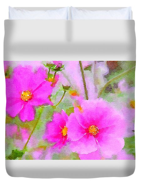 Watercolor Pink Cosmos Duvet Cover by Bonnie Bruno