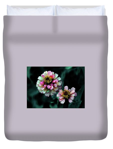 Watercolor Pink Zinnias And Smoke 2227 W_2 Duvet Cover