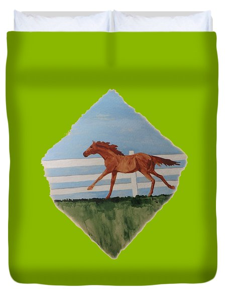 Watercolor Pony Duvet Cover by Joyce Wasser