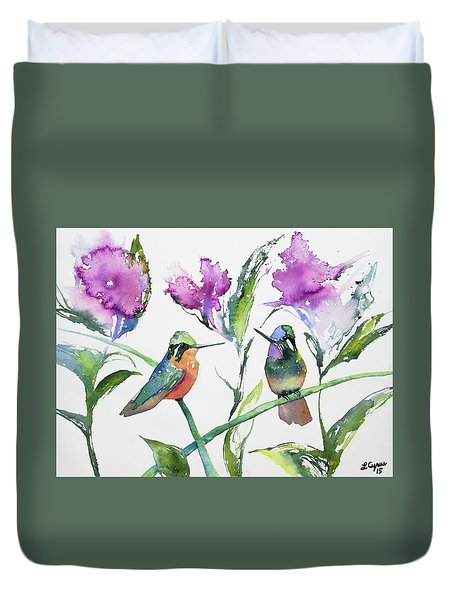 Watercolor - Purple-throated Mountain Gems And Flowers Duvet Cover