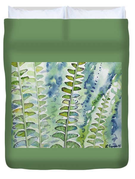 Watercolor - Rainforest Fern Impressions Duvet Cover
